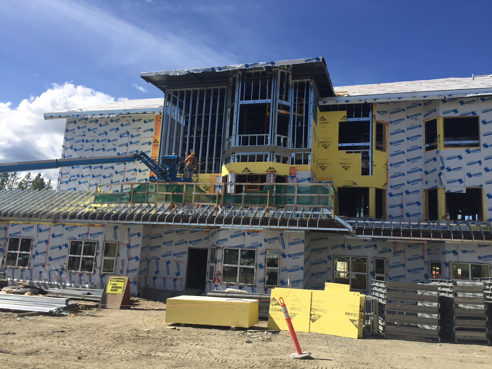 Outside view of external framing with Bailey Heavy Gauge Steel Studs